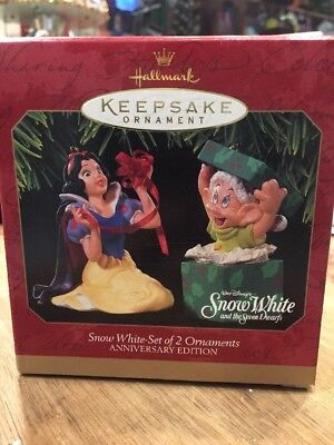 Hallmark Keepsake Ornament Snow White Set Of Two Anniversary Edition Christmas