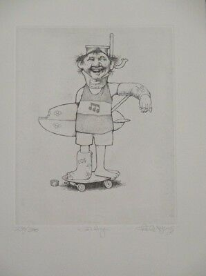 """Summer Special! Limited Ed Etching Print """"Corky"""" by Charles Bragg!"""