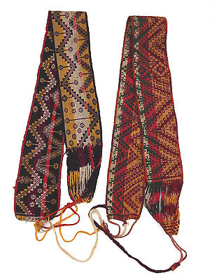 Two Huichol Indian Mexico South America Woven Dyed Wool Otomi Belt Sash Textile