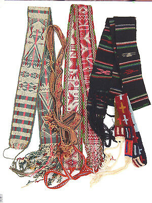 Collection Huichol Indian Mexico Woven Dyed Wool Otomi Belt Sash Textile