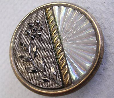 Antique Lacy-Patterned Black and Camphor Glass Button - ca.1850-1915