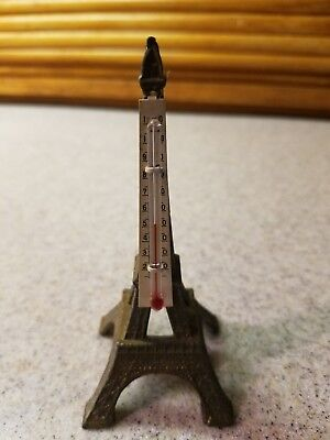 """Vintage French Eiffel Tower Brass Desk Thermometer 4 1/8"""" Tall"""