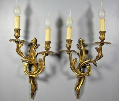 Antique Rococo Sconce French PAIR Brass Bronze Louis XV Wall Light Lamp Fixture