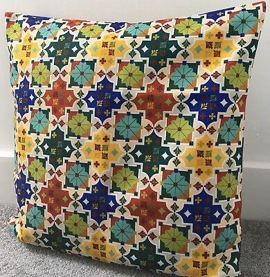 "Blue And Mustard Yellow Moroccan Floral Cushion Cover 16x24/"" 40x60cm Navy"