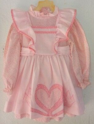 Vintage Harold Square Pink & White Pinafore Dress sz 4, applicaed heart & birds.