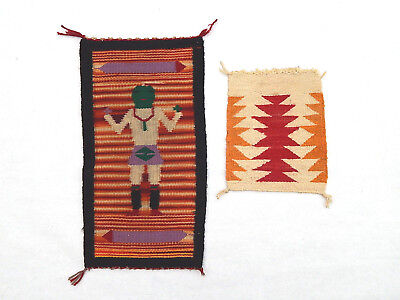 Two Navajo Native American Indian Small Wool Rug Wall Plaque Yei Rug