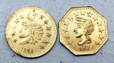 1854 & 1857 2 - California Gold 1/2 Indian Head Fractional Tokens