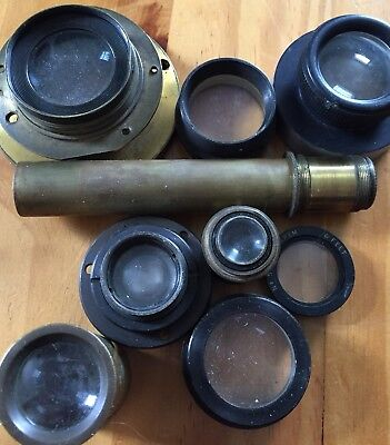 Joblot Vintage Antique Camera Lenses Spares  Parts Brass Projector Microscope