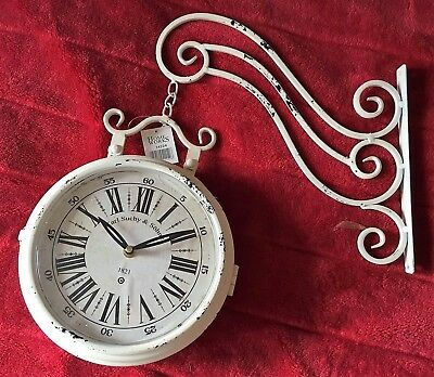 Double Sided Station Wall Clock Metal Bracket Retro Vintage White