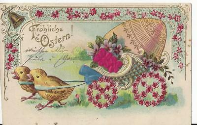 Easter - Chicks Pulling Egg In A Cart Embossed With Applique Vintage Postcard