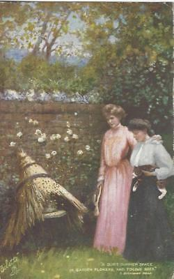Ladies In A Pretty Garden - Thatched Beehive Tuck Oilette  Vintage  Postcard