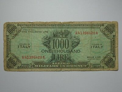 1943 A Italy 1000 Lire Wwii Allied Military Currency Vg No Reserve! Must See!!