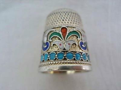 Hallmarked Russian Silver & Champleve Enamel Thimble.