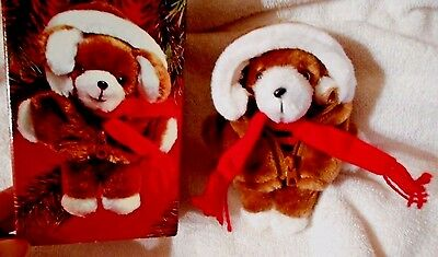 Avon 1984 Plush Puppy Dog Christmas Tree Ornament w/ Original Box 5 1/4 NOS  #14