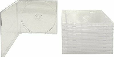 10 Standard Disc Jewel Cases Empty Clear Replacement CD Boxes With Inner Trays