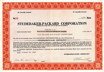 Studebaker Packard of Michigan 1958 Stock Certificate -Large Value - 4977 shares