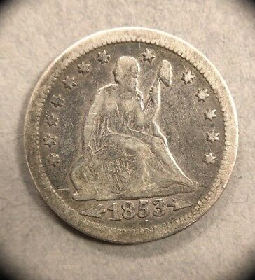 1853 Arrow & Rays 25C Seated Liberty Silvee Quarter Collectible Coin