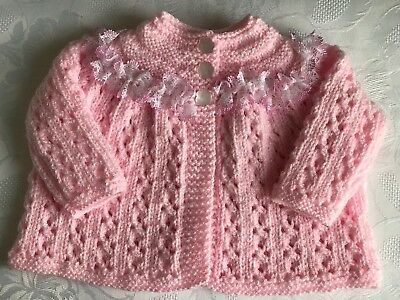 New Hand Knitted Baby Girl's Pink Shimmer Matinee Cardigan  0-3 Months