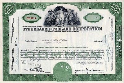 Studebaker Packard of Michigan 1954 Stock Certificate - green