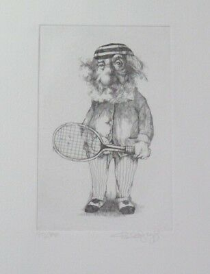 """Summer Special! Limited Edition Etching Print """"The Tennis Pro"""" by Charles Bragg!"""