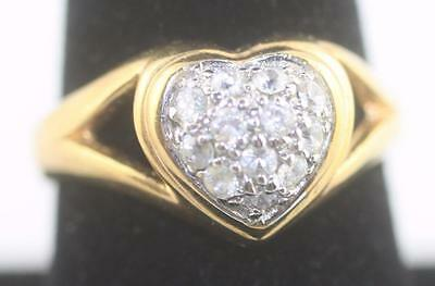Classy gold tone sweet heart shaped clear round stone cluster ring size 9