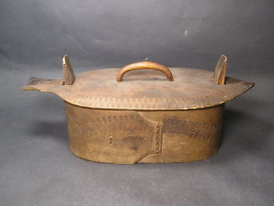 Antique Norwegian Wooden Tine Box Folk Art Fish Shaped Lid
