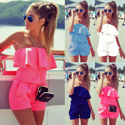 UK Summer Womens Holiday Playsuits Off Shoulder Jumpsuit Beach Shorts Mini Dress