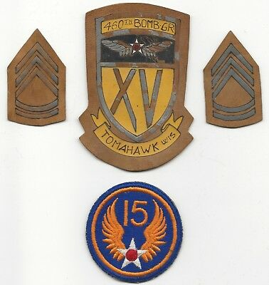 Italian Incised Leather 460th BG  XV Airforce SSI With Leather Rank & More