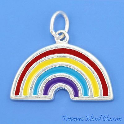 Enamel Rainbow .925 Solid Sterling Silver Charm Pendant MADE IN USA
