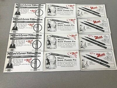 12 Moore's Fountain Pen Advertising Ink Blotter Cardboard Cards