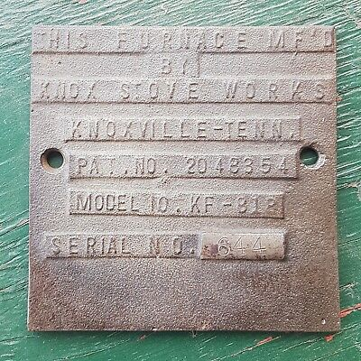 Vintage Knox Stove Works Plate Sign Advertising Boiler Furnace U.S.A. Cast Iron