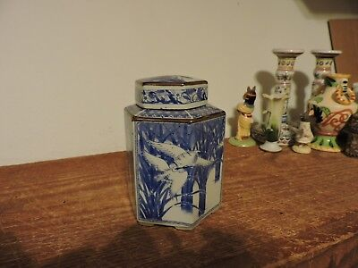 "Vintage Blue And White 6-Sided Ginger Jar Tea Caddy Asian Crane Scene 5.5"" tall"