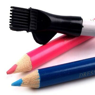 Tailors Chalk Pencils Brush Eraser Sharpen without breaking 3 Pack Length 10cm