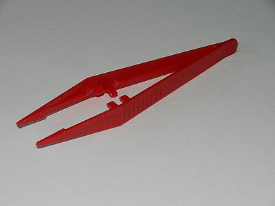 Pk of 5 - Plastic Tweezers 'Suregrip' design - Red