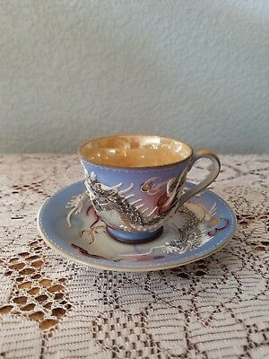 Antique Vintage Japanese Bone China Moriage Dragon Tea Cup