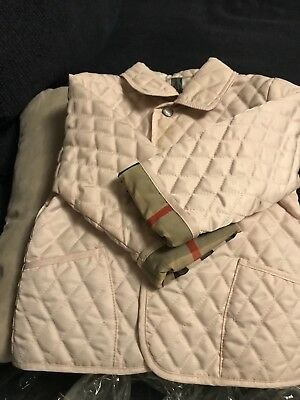 BURBERRY Kids Quilted Jacket w Nova Check Size 12M Beige Great!!!