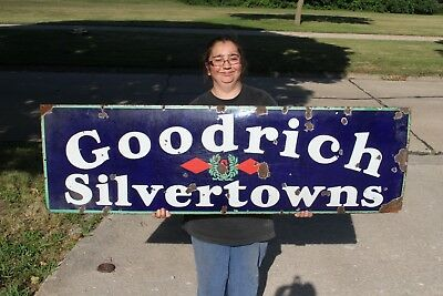 "Vintage 1930's Goodrich Silvertowns Tires Gas Station 58"" Porcelain Metal Sign"