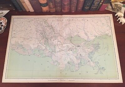 Original Antique Civil War Map LOUISIANA New Orleans Baton Rouge Lake Charles LA