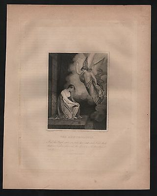 Rare Original Orsini 1861 Antique THE ANNUNCIATION Steel Engraved Bible Print