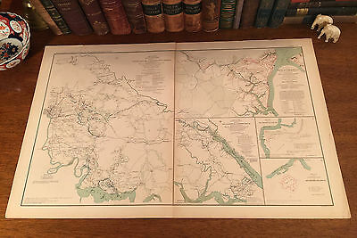 Large Original Antique Civil War Map YORKTOWN Williamsburg HARRISON Virginia VA