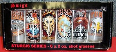 Sturgis Swigs Set Of 6 - 2 oz. Shot Glasses Mint In Box Motorcycle Rally Hogg