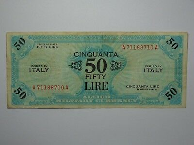 1943 A Italy 50 Lire Wwii Allied Military Currency Vf No Reserve! Must See!!