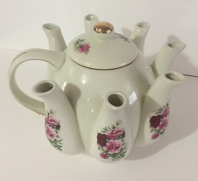 Vintage Formalities By Baum Bros China Multi Spout Teapot Rose/gold Decoration