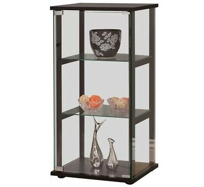 Small Curio Cabinet With Glass Doors Display Case Home Storage 3 Shelves  Show