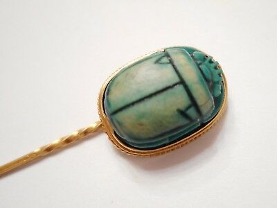 ANCIENT / ANTIQUE Eqyptian SCARAB w/ Hieroglyphics 18k GOLD Stick PIN STICKPIN