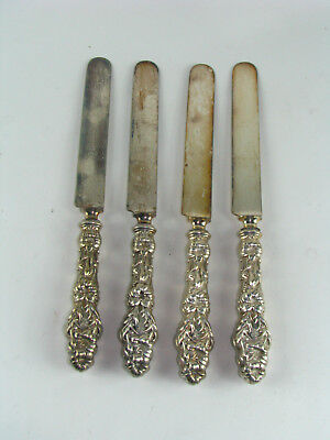 """4x Antique Gorham Whiting LILY Banquet Knife Knives 10.25"""" RARE Sterling Silver"""