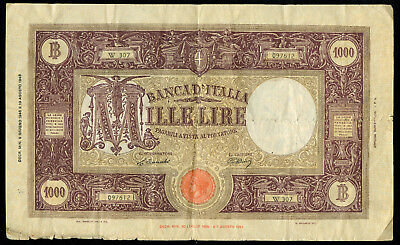 1943 Italy 1000 Lire Large Bank Note