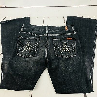 """Seven 7 for All Mankind Womens 29 Black Wash Crystal """"A"""" Pocket Bootcut Jeans"""