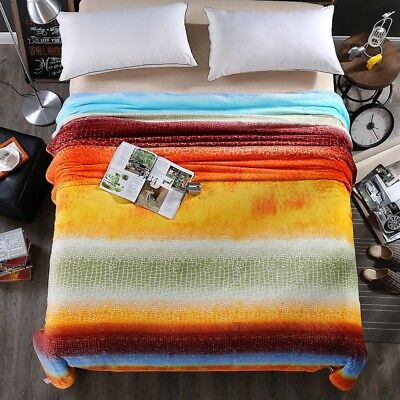 Soft Warm Flannel Throw Blanket Rug Sofa Bed Cover Double Queen Size Colourful
