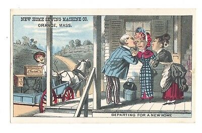 Departing for a New Home - New Home Sewing Machine Victorian Trade Card